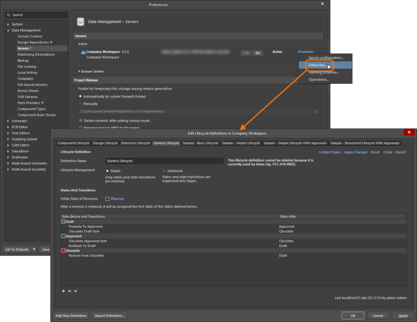 Lifecycle Definitions for the active connected Workspace are created and edited – in Altium Designer – through the Edit Lifecycle Definitions dialog. Shown here is opening the dialog for a connected Altium 365 Workspace. Hover the cursor over the image to see opening the dialog for a connected Concord Pro Workspace.
