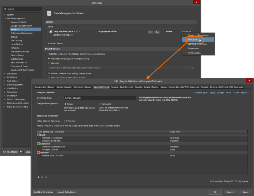 Lifecycle Definitions for the active connected Workspace are created and edited – in Altium NEXUS – through the Edit Lifecycle Definitions dialog.