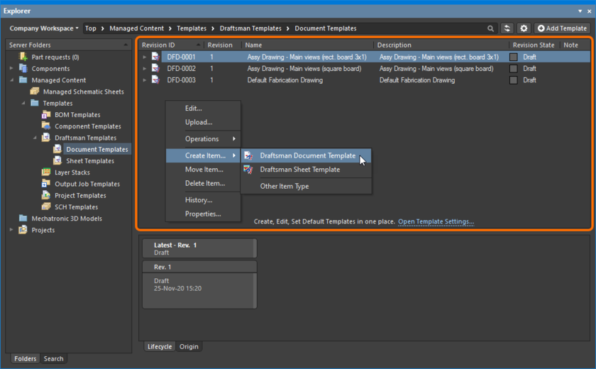 Right-click within the Items grid region of the Explorer panel to access commands relating to content creation.