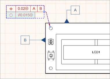 A selected Feature Control Frame with its two positioning nodes.