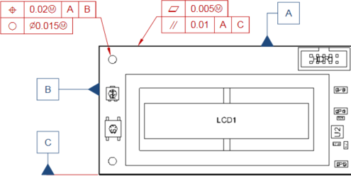 Feature Control Frame objects attached to a hole and an edge in a Board Assembly View. The three Datum Feature objects are used as reference locations.