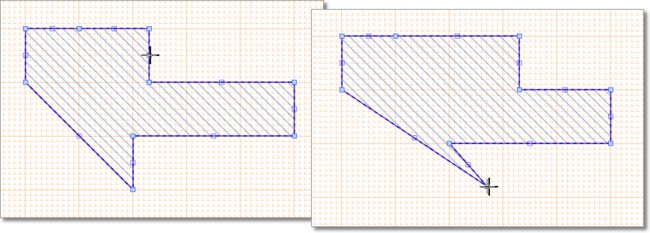 A selected Region shape is edited by dragging line or vertex nodes.