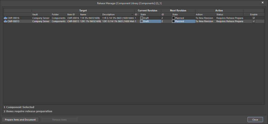 Release Manager dialog