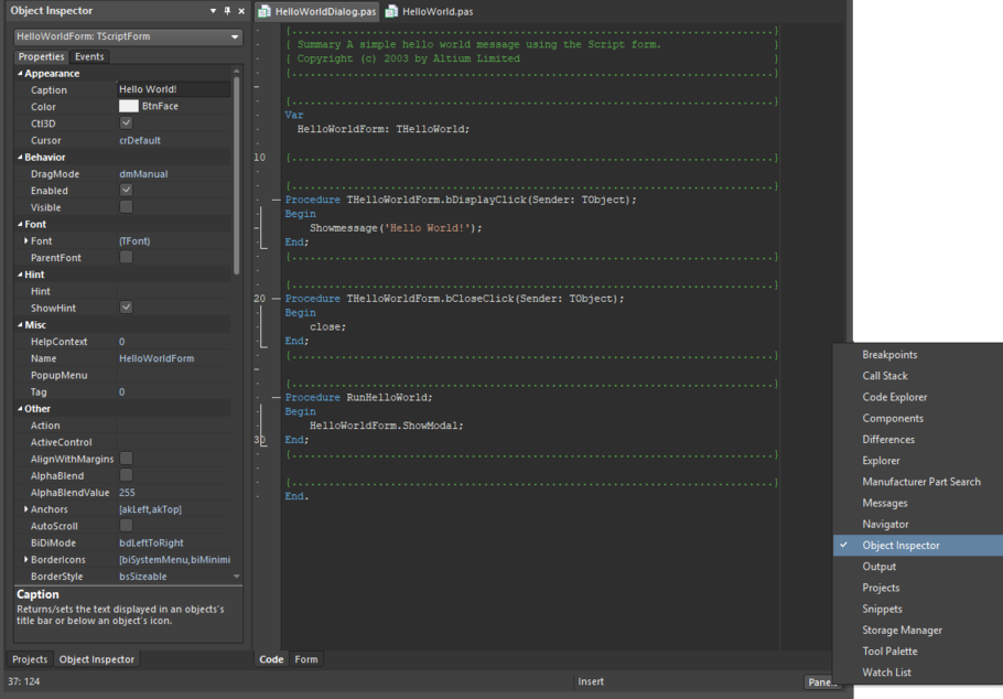 The Script Form's window configuration and properties are demonstrated in the Object Inspector panel.