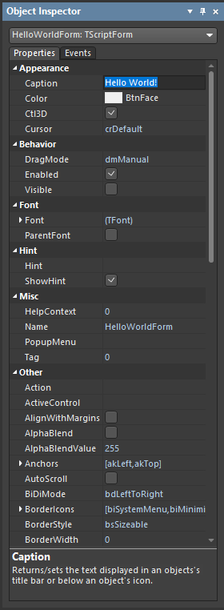 Use the Object Inspector panel to configure the form dialog and its action.