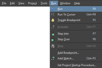Along with the Run command itself, the dropdown Run menu offers a range of script control and debugging commands.