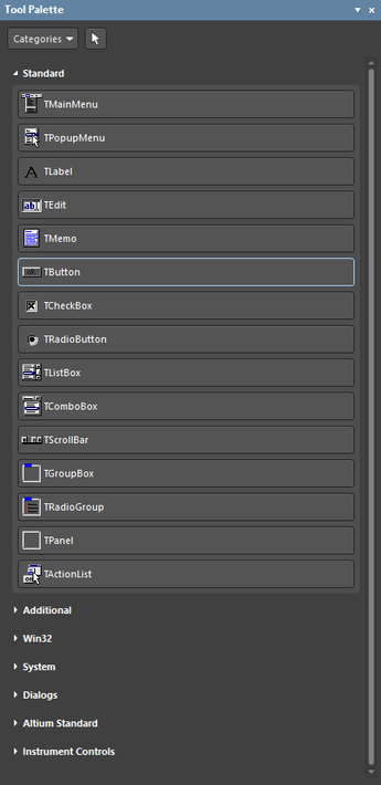 The Tool Palette panel sections can be expanded and collapsed using the section heading tabs.