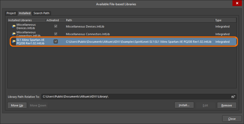 Compiled IntLib added to the Available File-base Libraries dialog Installed tab