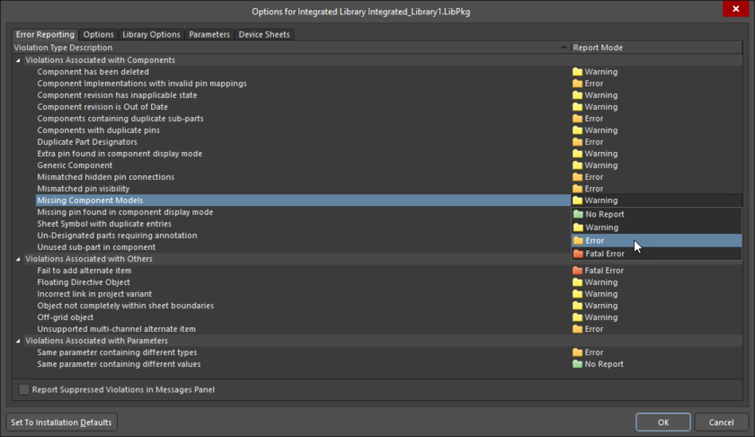 Error Reporting tab of the Options for Integrated Library