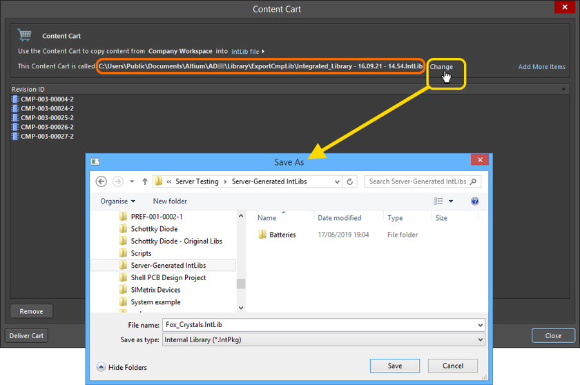 Accept the default target folder and filename, or change as required.