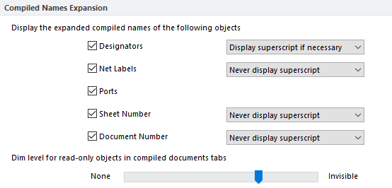 Configure the display of compiled object names, superscripts are helpful for component designators.