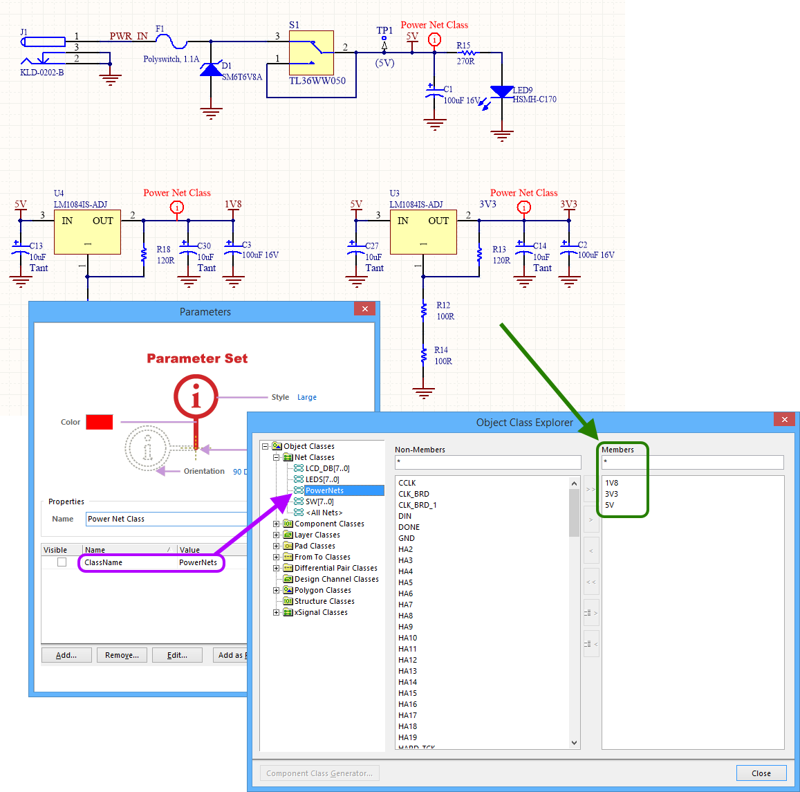 Specifying Design Requirements With Directives Online Electronic Circuit Diagram Pcb Layout Example Generated Net Class On The Side