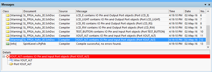 The Messages panel displays the detected warnings and errors detected in the Spiritlevel example project, after the Error Reporting and Connection Matrix settings were set to defaults.
