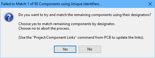 This dialog appears whenever there is a mismatch between schematic UIDs and PCB UIDs.
