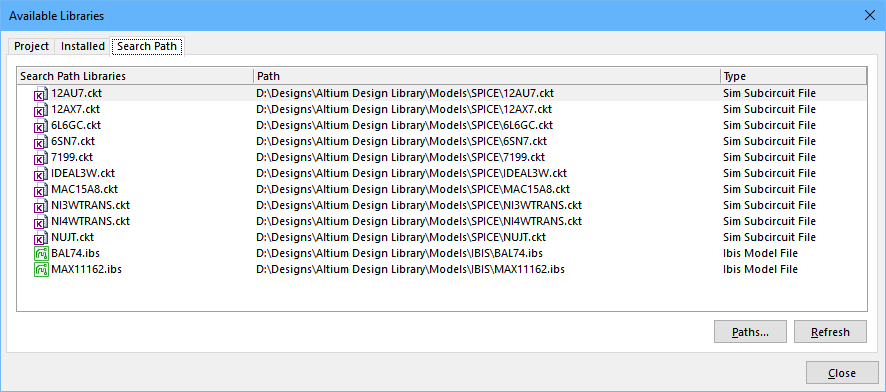 Use the Search Path feature to locate simulation and signal integrity models.