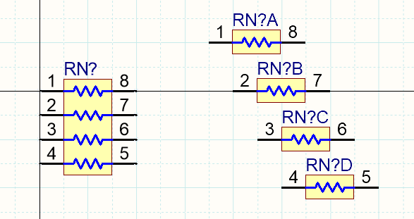 The same resistor network, shown as a single part on the left, and as 4 separate parts on the right.