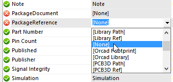 Configure parameter mapping as required. Set to [None] to prevent a  parameter in the database being mapped to the placed component. This  information can be included directly in the BOM.