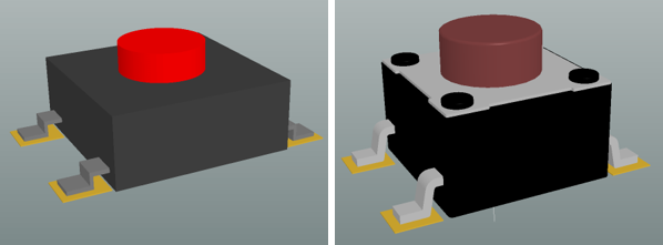 The same footprint, on the left the physical component has been created from a set of 3D Body objects, on the right a STEP model has been imported.