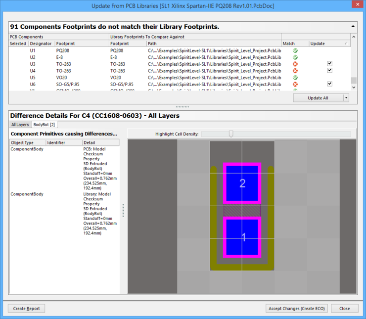 This dialog allows designers review differences between the footprint on the board and the footprint in the library.