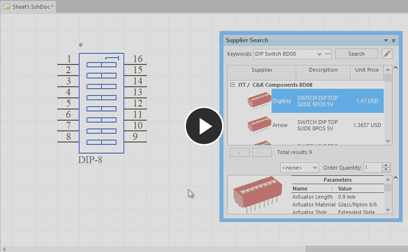 Demonstrating the addition of a Supplier Link to a placed component on a schematic sheet.
