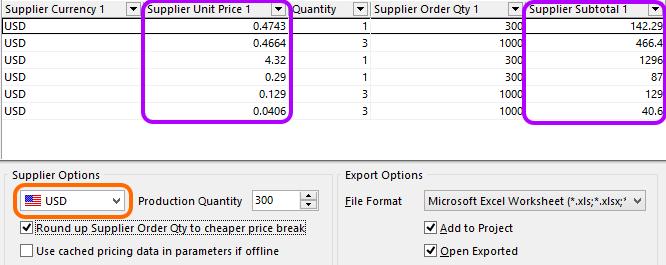 Hover over the image to see the effect of changing currency on pricing data.