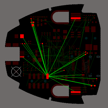 For the default topology, the connection lines are placed to give the shortest overall connection length. In the Starburst topology the connection lines all radiate from a Source pad.