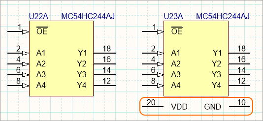 This HC244 has hidden power pins, which have been displayed on the instance on the right. Edit the pin to make it hidden and assign the net it is to connect to.