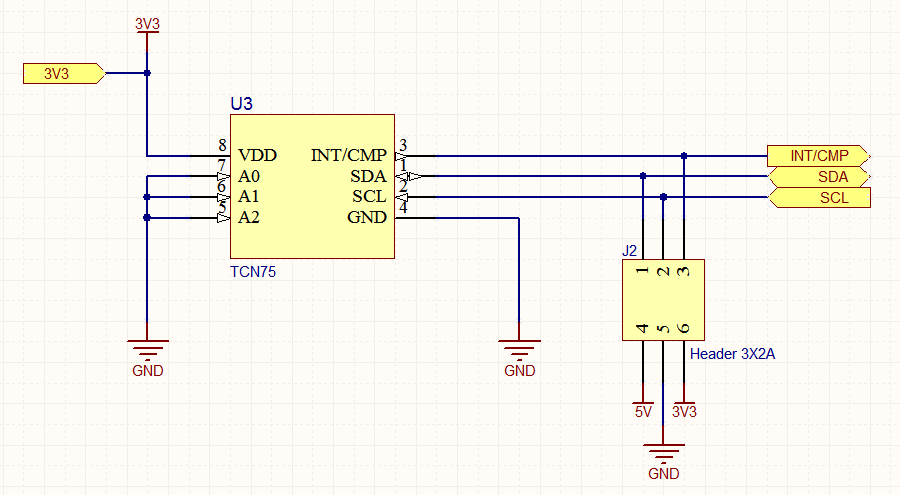 Here the 3V3 power net has been localized for just this sheet, so must also be manually wired on the parent sheet. The GND and 5V nets remain as global power nets.