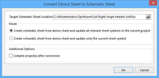 The Convert Device Sheet to Schematic Sheet dialog.