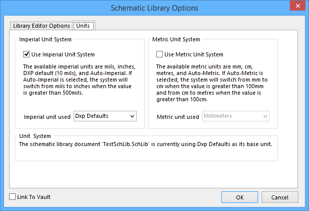 The Units tab of the Schematic Library Options dialog.