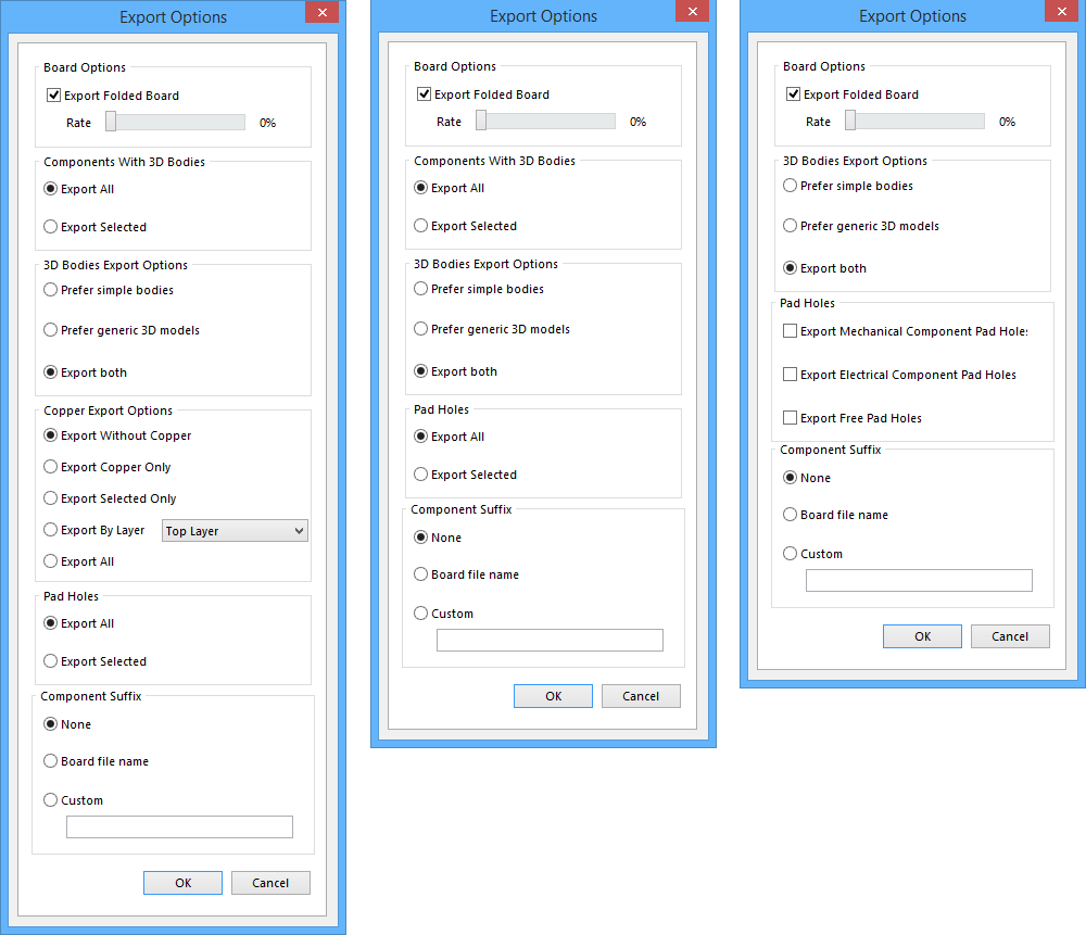 Export Options Online Documentation For Altium Products Also Download Autocad Electrical 2013 Control Designers The Dialog Showing Three Variations Of On Left When Using Parasolid To Access Middle Accessed With Step 3d Or Vrml