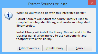 The Extract Sources or Install dialog