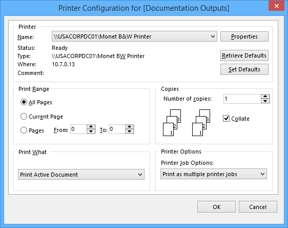 printer configuration for online documentation for altium products