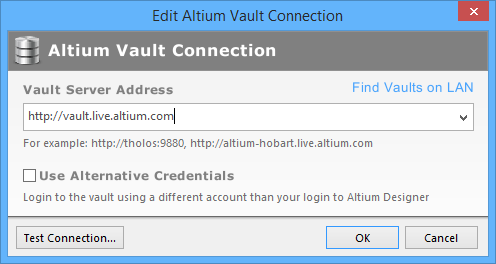 The Edit Altium Vault Connection dialog.