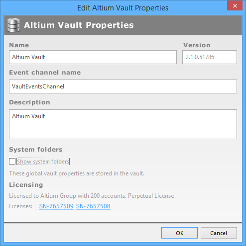 The Edit Altium Vault Properties Dialog.