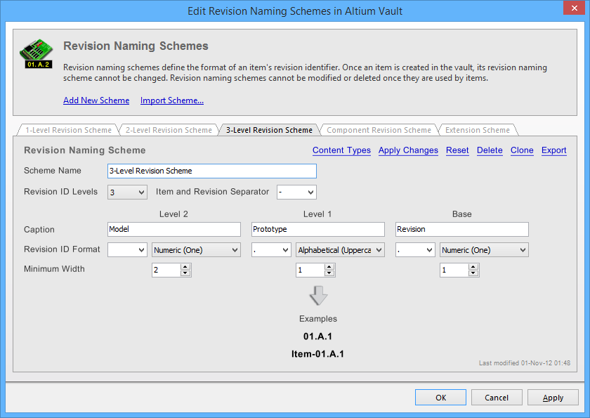 Edit Revision Naming Schemes   Online Documentation for Altium Products