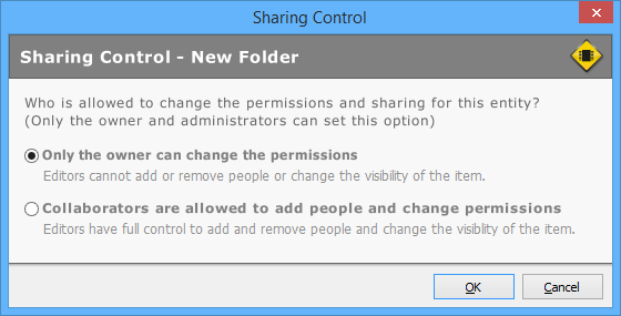 The Sharing Control dialog.