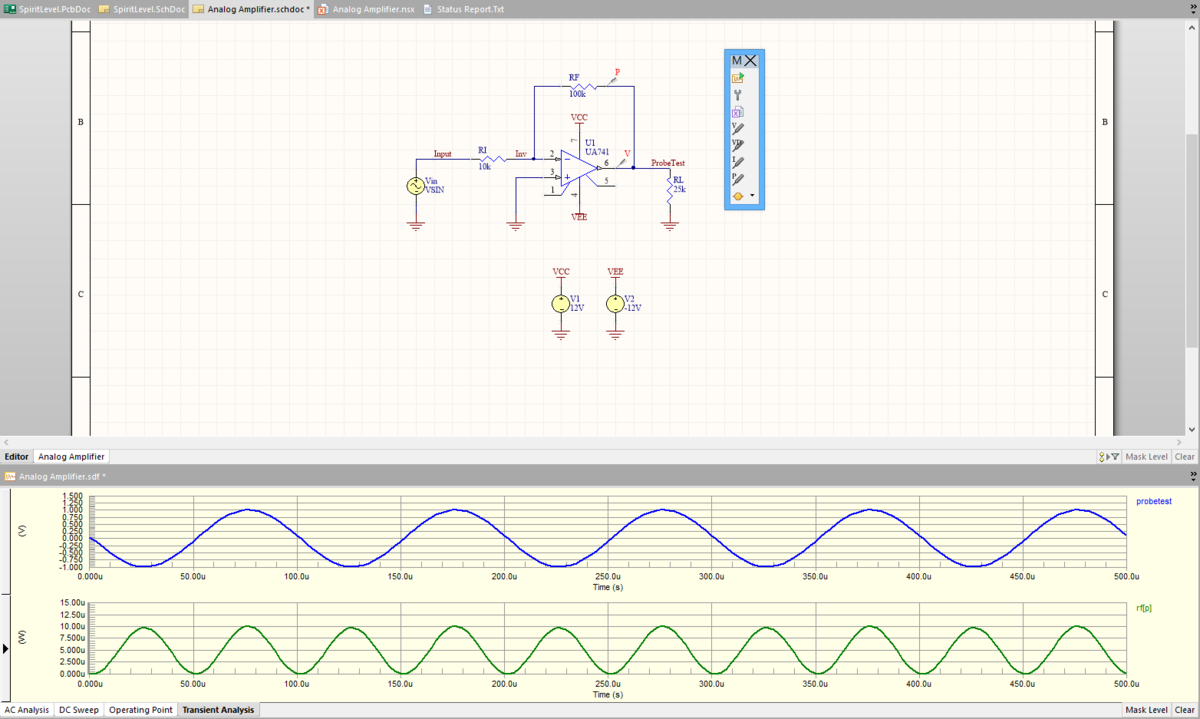 Static Simulation Probes Online Documentation For Altium Products Circuit Wizard Electronic Simulator Latest Version Circuits Horizontal Split Screen View Of Both The Schematic And Related Sdf File Charts Show Feedback Voltage Probe Placed On Probetest Net