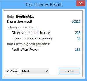 A Binary (top) and Unary (bottom) example of the Test Queries Result dialog