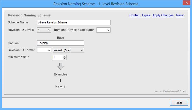 The Revision Naming Scheme dialog.