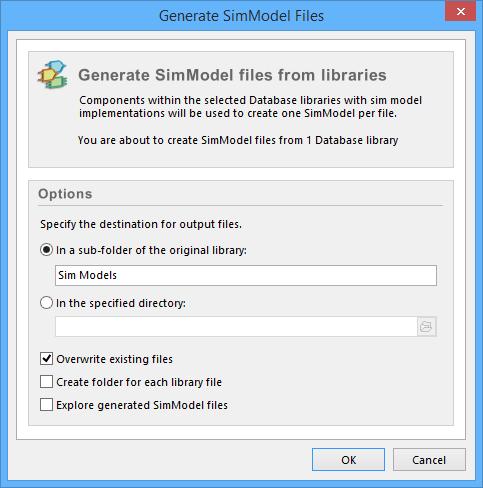 The Generate SimModel Files dialog