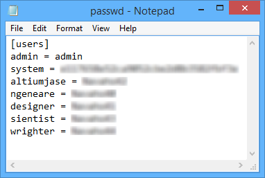 In a default installation of the NEXUS Server, user credentials are stored for the Version  Control service in the associated Passwd file. The passwords can be cleared manually.