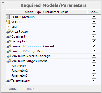 Example of parameters after linking to a revision of a Component Template Item.