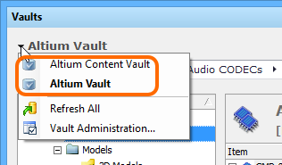 Access controls for changing the working Vault. The current Vault  appears in bold.