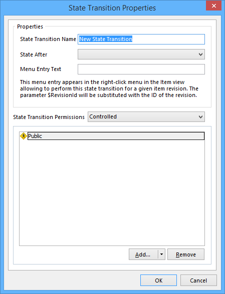 The State Transition Properties dialog