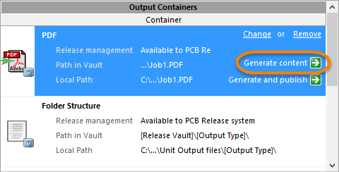 Generate content for the selected Output Container.