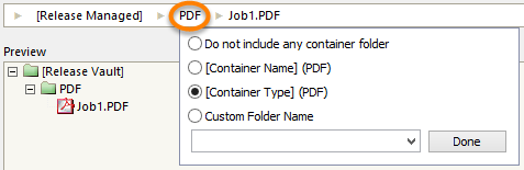 Options to define a container sub-folder for the output location.