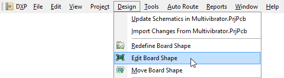 For this design, it is more efficient to edit the existing board shape. These commands are only available in Board Planning Mode.