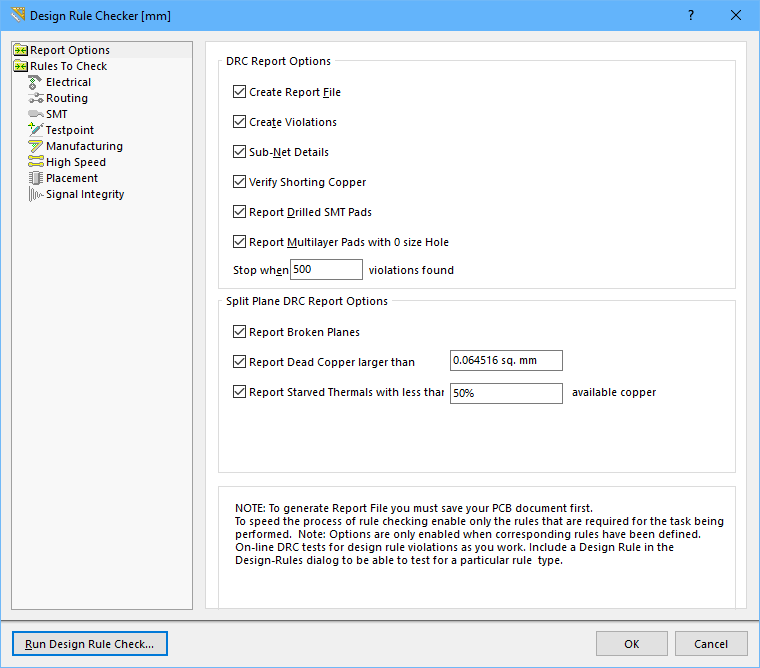 Rule checking, both online and batch, is configured in the Design Rule Checker dialog.