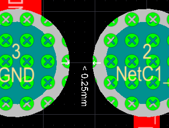 Violations are shown in solid green (left image), as you zoom in this changes to the selected Violation Overlay Style (center image), as you zoom in further Violation Details are added.